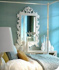 Bold colored Hollywood Regency style mirror Strong Baroque influence. White mirror #Anthropologie