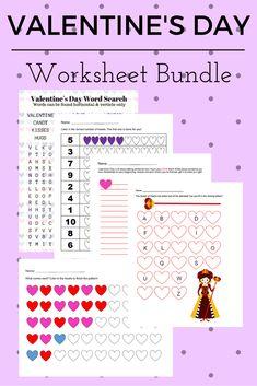 FREE EDUCATIONAL Valentine's Day Worksheet Bundle