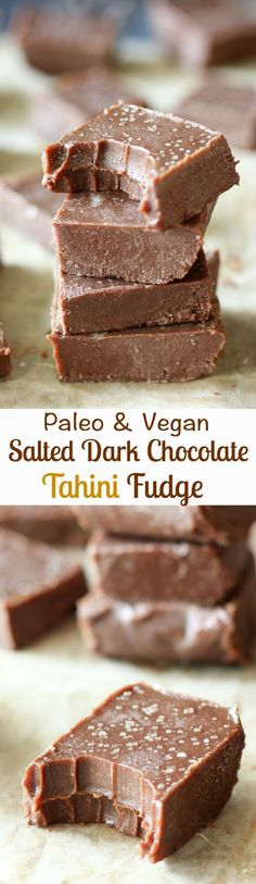 Paleo & Vegan salted dark chocolate tahini freezer fudge - rich chocolate flavor, creamy, so easy to make!