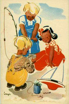 Gratulasjonskort Barn Inga Havig-Gjelseth Utg Oppi 1940-tallet