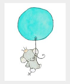 This little elephant has big plans—and a big balloon to help see them through! Bound to inspire big dreams, this winsome print is an ideal finishing touch for any sweetie's sanctuary, and comes ready to be framed and admired. Available in two sizesPaper / inkMade in the USA