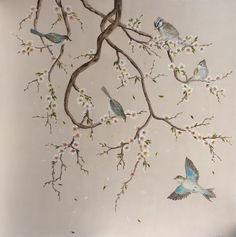 Купить Chinoiserie 4 - шинуазри, птичка, птички, птички на ветке, интерьер, интерьерное панно