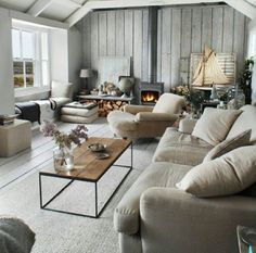 Beach house style with whitewashed walls
