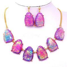 NEW Statement Necklace Dangle Drop Pierced Earring Set Party Dress Women's US