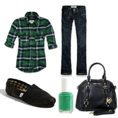 So cute and comfy! You'd have to tuck that shirt to make it look feminine. Cheap Mens Shoes, Cheap Toms, Shoes Men, Buy Cheap, Toms Boots, Girl Outfits, Cute Outfits, Toms Outlet, Flannel Shirt