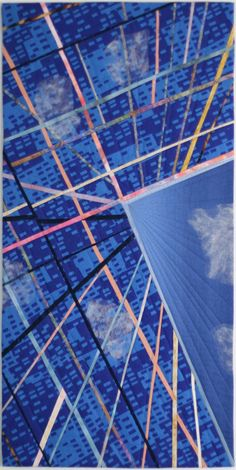 """In The Clouds, 32 x 16"""", by Joanna Mack  (SAQA)"""