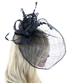 b1174b83806 Southern Belle Sinamay Tea Party Cocktail Derby Race Fascinator Hat with  Flowers Feathers and Veil Review
