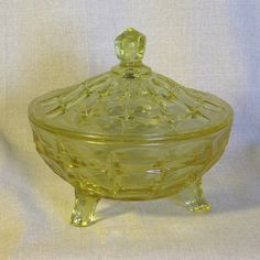 Yellow #Vintage glass candy dish