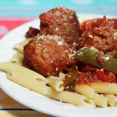 Italian Meatballs and Peppers by Pam, cooked in the slow cooker, are super easy to get on the table and make for a delicious dinner.  #PAMcookingspray #ad