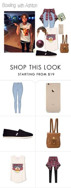 """""""Bowling with Ashton"""" by mama1161 ❤ liked on Polyvore featuring Topshop, TOMS, Chanel, WithChic, 5sos, ashton, 5secondsofsummer and 5sosoutfits"""