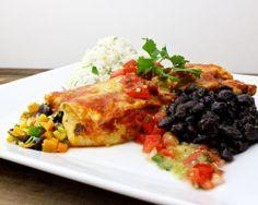 Southwestern Vegetable Enchiladas - Black beans, butternut squash, onions, poblano chile, yellow and white corn, cilantro, pepper jack cheese, pico de gallo, ancho chile sauce, green chile sauce, cilantro-lime rice pilaf