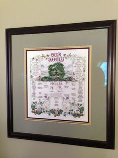 Family tree cross stitch