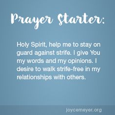 Daily Devo: Living Life Free of Strife Prayer For Discernment, Prayer Scriptures, Faith Prayer, Faith Scripture, Bible Verses Quotes, Faith Quotes, Joyce Meyer Quotes, Morning Prayers, Morning Blessings