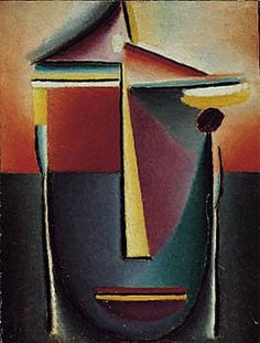 """Alexei Jawlensky - """"Abstract Head: Life and Death,"""" 1923, oil and pencil on cardboard, 16 3/4 x 12 7/8 inches."""