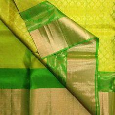 KSS3900007-THAMBOORI s Handwoven Jaquard style woven Kanchivaram-Lemoney yellow parrot green, 1.1kg