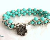 Elegant Turquoise and Paradise Beaded Feminine Bracelet for an Anniversary or  Birthday Gift