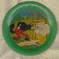 1930s Ohio Art Tin Plate Big Bad Wolf Three Little Pigs Walt Disney