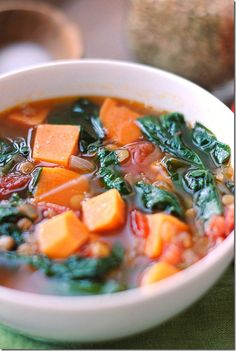 Vegan Sweet Potato and Lentil Soup. I would be the only one in my house eating this but it looks so good to me!
