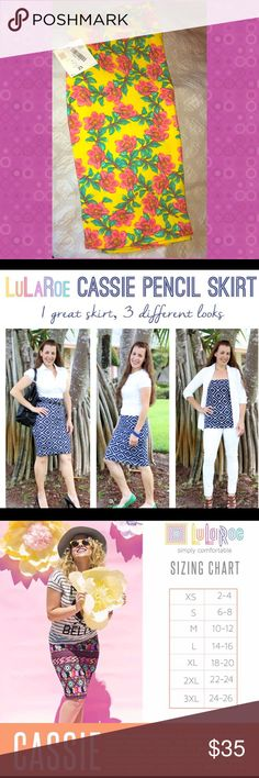 LulaRoe Cassie Skirt This floral pencil  skirt is to die for. The bright and cheery colors make such a statement! Rare color find! Make a reasonable offer LuLaRoe Skirts Pencil