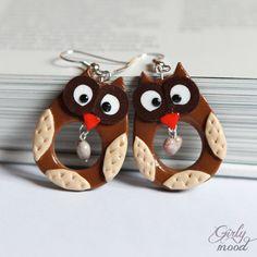 HooT HooT Brown Owl Earrings by GirlyMood on Etsy