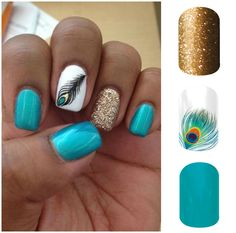 Creating this look yourself is a breeze using Jamberry nail wraps. Gold Sparkle, Shake Your Tail Feather, and Aquamarine