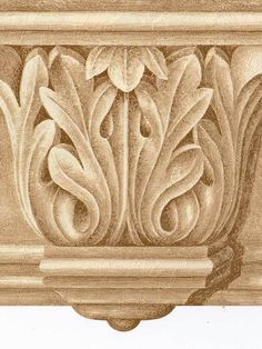 Victorian Architectural Golden Crown Molding - Wallpaper Border 525 #NorwallWallcovering #ArchitecturalCrownMoldingGolden #Wallpaper