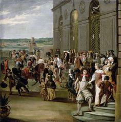 La cour de Louis XIV : Louis XIV suivi du Grand Dauphin passant à cheval devant la grotte de Thétys à Versailles.
