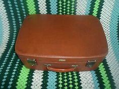 Original Vintage Classic Tan Brown Antler Suitcase -  Prop - Display - Wedding