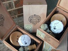 groomsmen gift-shave set in vintage cigar box. set of 4, $180.  via etsy.