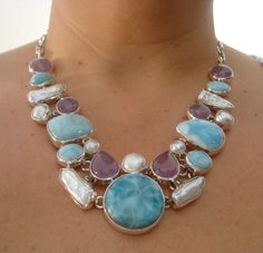 Taxco Larimar Amethyst Pearl Necklace   Mexican Silver Store