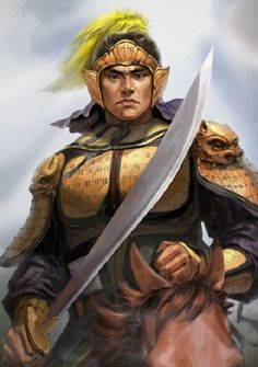 Zhang Liao was a military general serving under the warlord Cao Cao during the late Han Dynasty and early Three Kingdoms era of Chinese histor. Character Concept, Character Art, Character Design, Dnd Characters, Fantasy Characters, Chinese Characters, Power Of Evil, Chinese Armor, The Warlord
