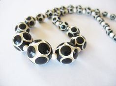 Vintage Art Deco Carved Necklace Black & White Polka Dot Galalith by tubbytabby, $59.00