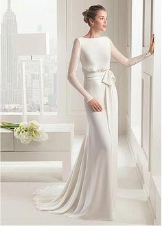 Elegant Satin Chiffon Bateau Neckline Natural Waistline Sheath Wedding Dress   #NewYearSale