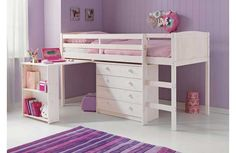 Classic Mid Sleeper Bed Frame with Desk - Whitewash.