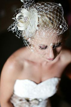 Bridal Fascinator + Net Cage Style Veil