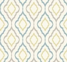 ND7087 Diva from Candice Olson Inspired Elegance by York is a wallpaper with a geometric trellis pattern in natural , green , blue and silver.