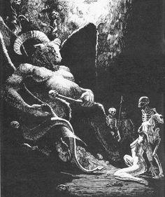 Six years ago , I posted an image of a fat and manky Orcus illustrated by Todd Lockwood, of Dungeons and Dragons fame. Fantasy Kunst, Fantasy Art, Dungeons And Dragons, Dcc Rpg, Arte Obscura, Occult Art, Heaven And Hell, Bizarre, Tarot
