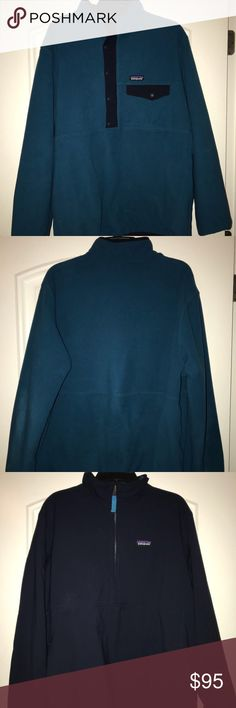 Patagonia REVERSIBLE Fleece 1/2 zip/button - L Size Large Patagonia blue/navy pullover that is reversible. Patagonia doesn't sell this item anymore, but I got it for $190 at the time of purchase.   ** There is a small cigarette burn on the right sleeve of the sweater (on the lighter blue side).      - The burn didn't change the color of the fleece at all, and is not noticeable. It just looks like the fleece got matted down in that spot.      -  I don't smoke, and neither does anyone in my…
