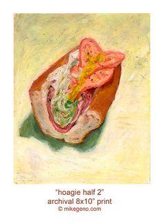 HOAGIE HALF 2  archival print of original pastel drawing by food artist, Mike Geno - $20.00  #philadelphia  #philly