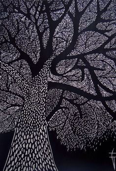 "Printmaking, ""L'arbre - Original Linocut / Tree / Nature / Forest / leaves - Limited Edition 10 of Linocut Prints, Art Prints, Black Paper Drawing, Scratchboard Art, Black And White Tree, Forest Illustration, Desenho Tattoo, Aboriginal Art, Tree Art"