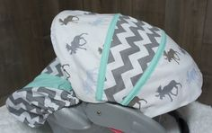 Car Seat Infant Seat Cover  Moose   Chevron  by Babylooms on Etsy