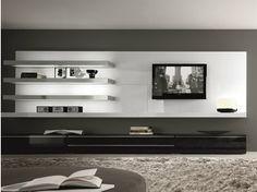 Mueble modular de pared composable montaje pared lacado de madera TAO DAY | Mueble modular de pared montaje pared
