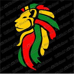 Check out this super cool lion head vinyl decal in the 3 colors of the Jamaican flag.