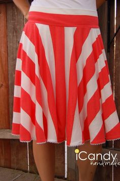 striped circle skirt tutorial sewing