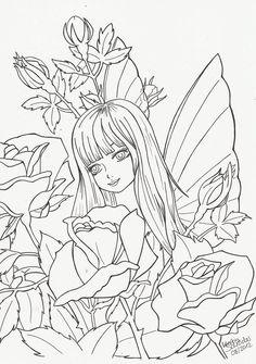 Rose Fairy - Outlines by KerstinSchroeder on deviantART