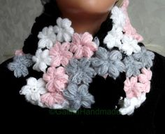 Crochet  Flowers Scarf Oversized Infinity Scarf  by GalinaHandmade