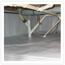How to install vapor barrier in crawl space for the home for Concrete crawl space floor