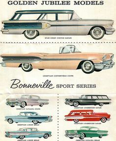 1958 Pontiac Star Chief Custom Safari Station Wagon and Chieftain Convertible  by coconv, via Flickr