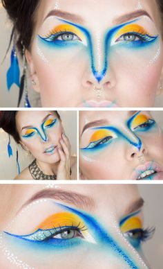 Bird of paradise makeup - inspiration for Madame Zolbo. Flashy and bird-like, reminds me of her character.
