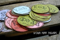 """Summer Reading Program - kids get one circle """"I read 20 minutes"""" or I read a book"""" and place it in a bucket.  Award a small gift based on their achievement."""